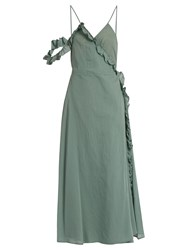 Loup Charmant Waterfall Cotton Wrap Dress Green