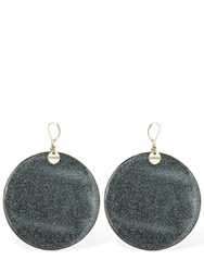 Missoni Large Glittered Resin Disc Earrings Black