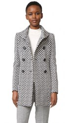Derek Lam Double Breasted High Collar Coat Black White