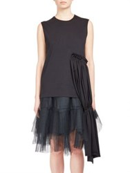 Simone Rocha Ruched Side Panel Sleeveless Cotton Top White Black