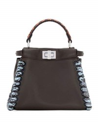 Fendi Peekaboo Medium Snakeskin Whipstitch Satchel Bag Black Multi Black Pattern