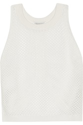 Rebecca Minkoff Kaila Open Knit Cotton Sweater White