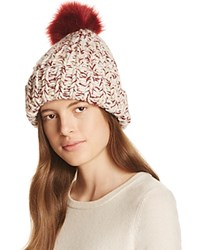 Nor La Marled Cuff Hat With Faux Fur Pom Pom Bordeaux Marled Bordeaux Pom