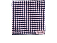 Cifonelli Houndstooth Silk Twill Pocket Square Blue Pat.