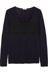Clu Lace Trimmed Cotton And Modal Blend Jersey Blue