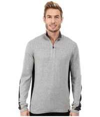 Dkny Long Sleeve Quilted 1 4 Zip Sweater Heather Grey Men's Sweater Gray