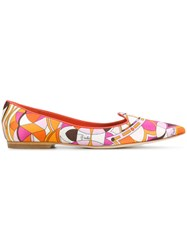 Emilio Pucci Printed Point Toe Slippers Silk Leather