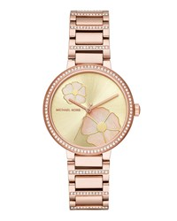 Michael Michael Kors 36Mm Courtney Flower And Crystal Bracelet Watch Rose Gold