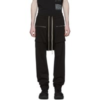 Rick Owens Drkshdw Black Long Drawstring Cargo Pants