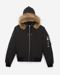 The Kooples Cropped Black Nylon Down Jacket With Hood