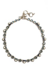 Marchesa Imitation Pearl And Crystal Necklace Blue Multi Gold