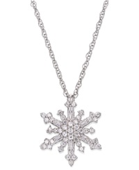 Macy's Diamond Snowflake Pendant Necklace In Sterling Silver 1 4 Ct. T.W.