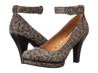 Sofft Manhattan Grey Leopard Hair Foil Suede High Heels Gray