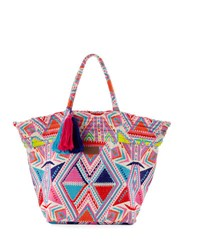 Seafolly Carried Away Embroidered Beach Tote Bag Multicolor