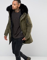 Sixth June Parka With Faux Fur Hood Khaki Green