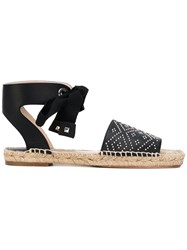 Paloma Barcelo Studded Ankle Strap Sandals Women Raffia Leather 39 Black
