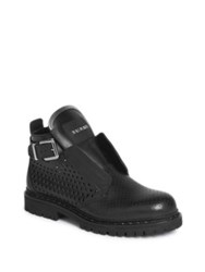 Balmain Perforated Leather Boots Black