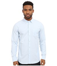 Obey Dissent Trait Long Sleeve Woven Top Light Blue Men's Long Sleeve Button Up