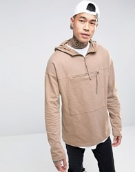 Asos Oversized Long Sleeve T Shirt With Hood And Kangaroo Pocket Brown