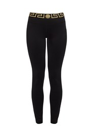 Versace Logo Embroidered Performance Leggings Black