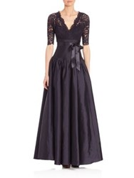 Teri Jon By Rickie Freeman Lace And Taffeta V Neck Ball Gown Navy