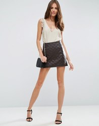 Asos Quilted Pu Mini Skirt With Side Zip Brown