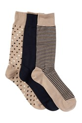 Cole Haan Dots And Stripes Crew Socks Pack Of 3 E80asst E8