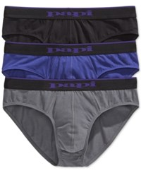 Papi Men's 3 Pack Cotton Stretch Briefs Black Char Purple