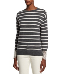 Brunello Cucinelli Striped 2 Ply Cashmere Sweater With Lace Charcoal White