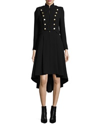 Alice Olivia Rossi Long Sleeve Military Style Dress Black