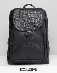 Reclaimed Vintage Studded Leather Backpack In Black Black