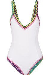 Kiini Yaz Crochet Trimmed Swimsuit White