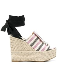 Sergio Rossi Striped Ankle Tie Sandals Pink And Purple
