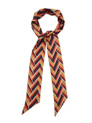 Gucci Chevron Striped Silk Twill Scarf