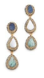 Native Gem Three Stone Ilume Statement Earrings Blue Mother Of Pearl Amazonite
