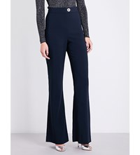 Cushnie Et Ochs High Waisted Flared Stretch Crepe Trousers Navy