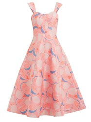 Vika Gazinskaya Lemon Print Cotton Blend Dress Pink Print