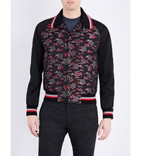 Lanvin Embroidered Silk Blend Bomber Jacket Red Blk