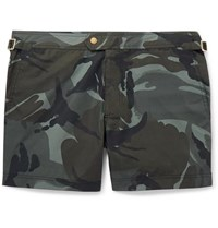 Tom Ford Slim Fit Short Length Camouflage Print Swim Shorts Gray Green