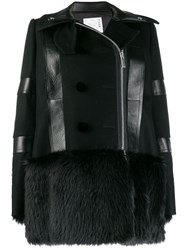 Sacai Faux Fur Trimmed Coat Black