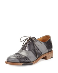 Mr. Smith Striped Perforated Leather Oxford Slate The Office Of Angela Scott