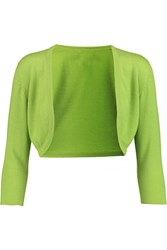 Oscar De La Renta Cropped Cashmere And Silk Blend Cardigan Green