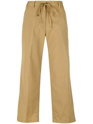 Aspesi Flared Cropped Trousers Women Cotton 44 Nude Neutrals