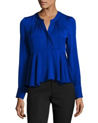 Milly Brooke Long Sleeve Stretch Silk Peplum Top Cobalt