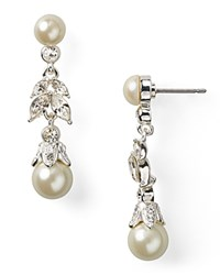 Carolee Linear Pearl Teardrop Earrings Silver