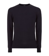 Armani Jeans Signature Crew Neck Jumper Male Navy