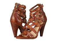 Frye Mika Strappy Heel Brown Washed Smooth Vintage High Heels