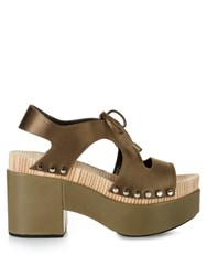 Balenciaga Cut Out Satin Platform Sandals Khaki