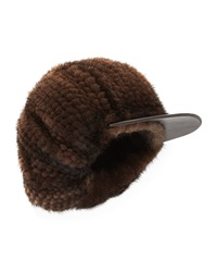 Surell Mink Fur Newsboy Cap Brown
