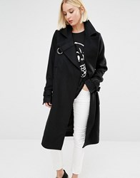 Cheap Monday Wool Coat With D Ring Details Black
